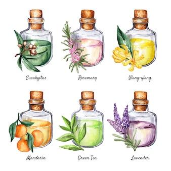 Collection de bouteilles d'huile essentielle aquarelle