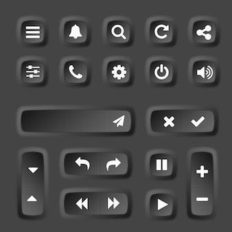 Collection de boutons 3d d'éléments ux et ui