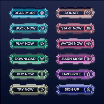 Collection de boutons d'appel à l'action néon réaliste