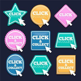 Collection de boutons de clic et de collecte