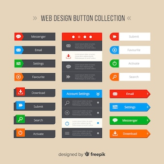 Collection de boutons de conception web coloré avec un design plat