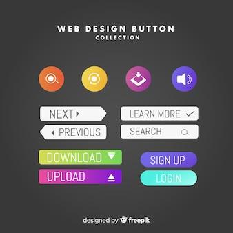 Collection de boutons de conception web coloré avec un design plat