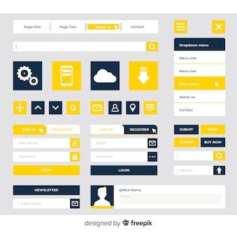 Collection de boutons de conception web moderne avec un design plat