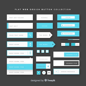 Collection de boutons de conception web moderne avec un design plat