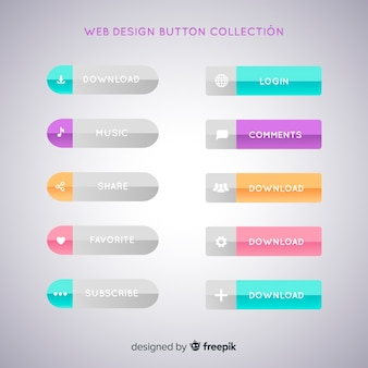 Collection de boutons de conception web