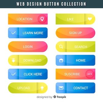 Collection de boutons de conception web