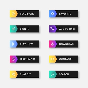 Collection de boutons cta design plat