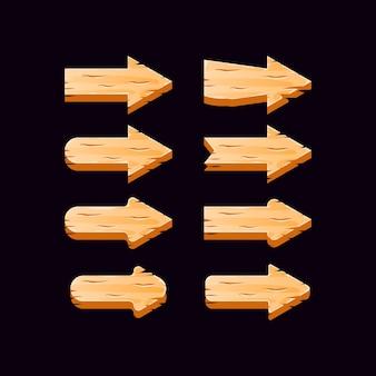 Collection de boutons fléchés en bois de l'interface utilisateur de jeu
