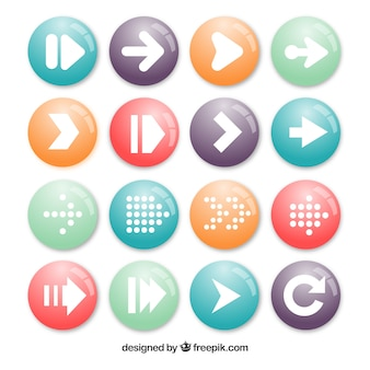 Collection de boutons fléchés rondes
