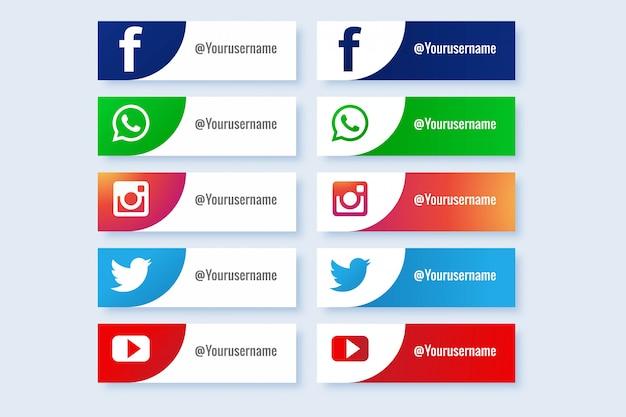 Collection de boutons d'icônes populaires de médias sociaux abstraits