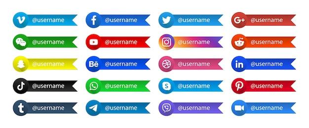 Collection de boutons de logos de réseau