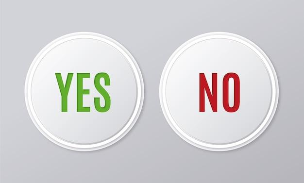 Collection de boutons oui et non