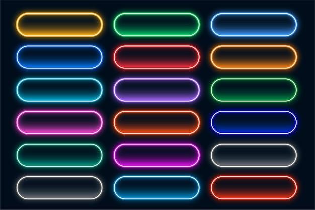 Collection de boutons web néon lumineux