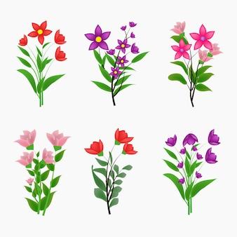Collection de braces de fleurs colorées vintage