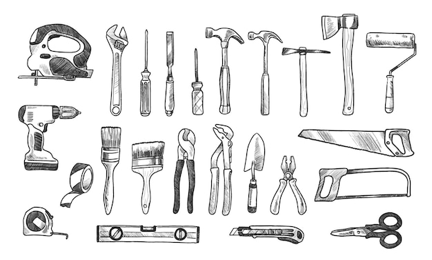 Collection brico tools doodles
