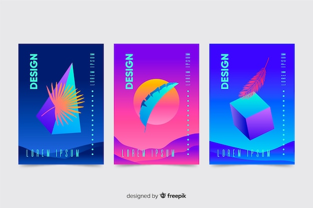 Collection de brochures sur les formes géométriques flottantes
