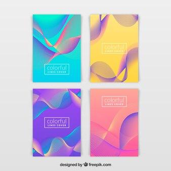 Collection de brochures moderne avec dessin abstrait
