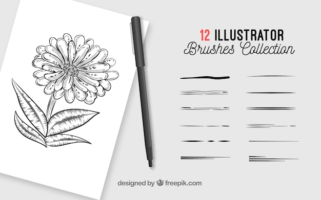 Collection de brosses pour illustration