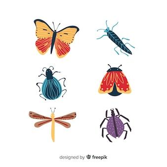 Collection de bugs colorés dessinés à la main