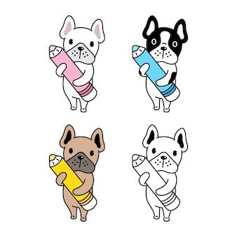Collection de bulldog avec un crayon