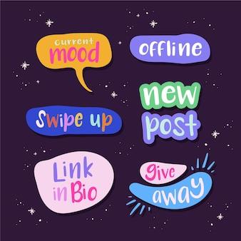 Collection de bulles d'argot de médias sociaux