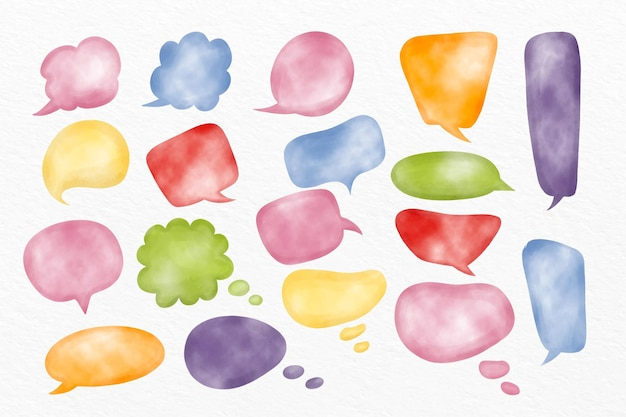 Collection de bulles de chat aquarelle