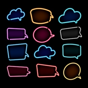 Collection de bulles colorées au néon avec un espace pour le texte