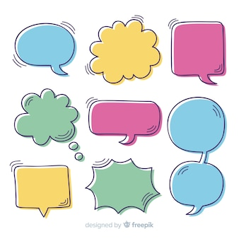 Collection de bulles colorées discours dessinés à la main