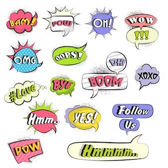Collection de bulles de communication comiques colorées avec du texte d'expression varié sur l'effet ponctué en demi-teintes, grand ensemble de design pop-art.