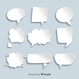 Collection de bulles de conversation à plat dans le style de papier