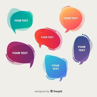 Collection de bulles de dialogue dégradé avec espace réservé