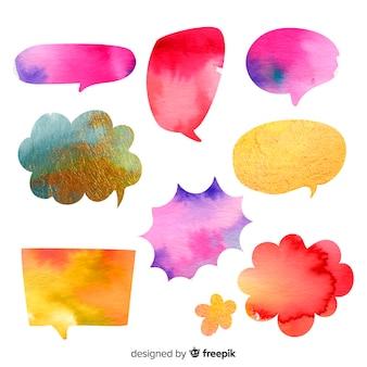 Collection de bulles de discours aquarelle