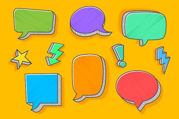 Collection de bulles de discours comique colorée