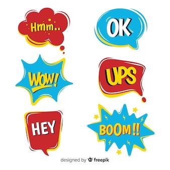 Collection de bulles de discours comique en rouge et bleu