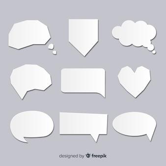 Collection de bulles de discours dans un style de papier clair