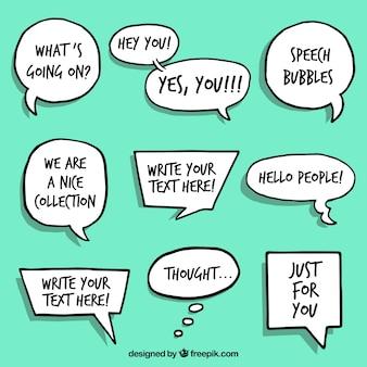 Collection de bulles de discours dessinées à la main