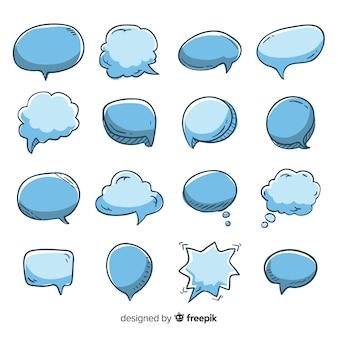 Collection de bulles de discours dessinés à la main vide