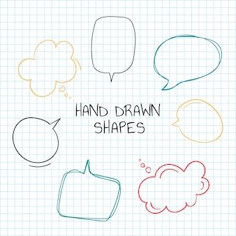 Collection de bulles de discours dessinés à la main