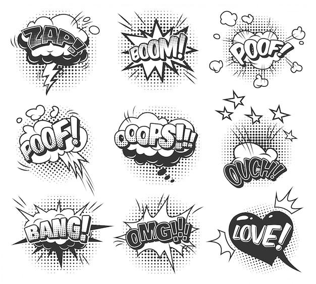Collection de bulles de discours monochromes comiques avec des libellés différents et des effets d'humour en demi-teintes