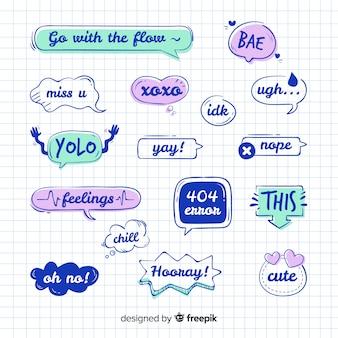Collection de bulles de parole avec des messages