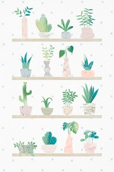Collection de cactus de botanique verte