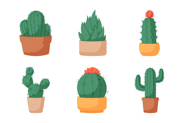 Collection de cactus élément design plat. définir six éléments