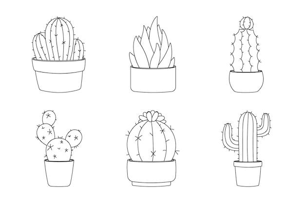 Collection de cactus d'éléments de conception d'art en ligne. définir six éléments