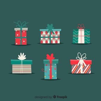 Collection de cadeau de noël au design plat
