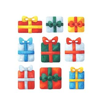 Collection de cadeaux dans un emballage multicolore avec un arc. clipart de vacances
