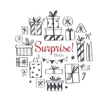 Collection de cadeaux dessinés à la main pour les vacances, l'anniversaire et noël