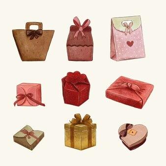 Collection de cadeaux dessinés à la main