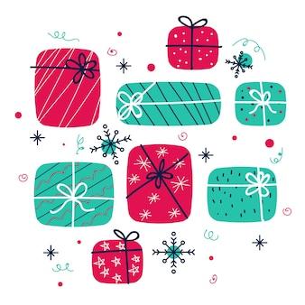 Collection de cadeaux du père noël au design plat