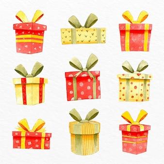 Collection de cadeaux de noël aquarelle