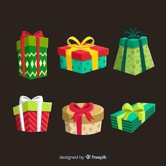 Collection de cadeaux de noël au design plat